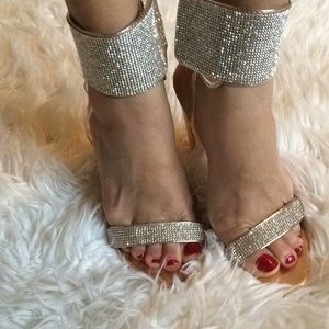 Liliana rhinestone rose gold heels